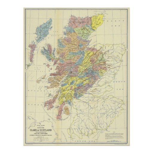 Map of Scotland in 1899 Showing Scottish Clans Poster