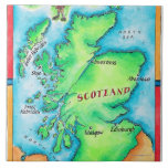 Map of Scotland Large Square Tile