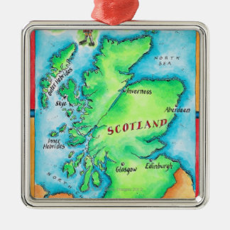 Map of Scotland Square Metal Christmas Ornament