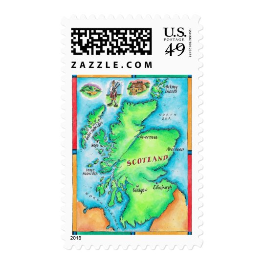 Map of Scotland Postage