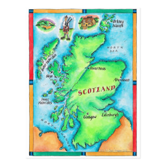 Map of Scotland Postcard