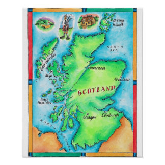 Scotland Paint Splashes Maps From Our Map Poster -