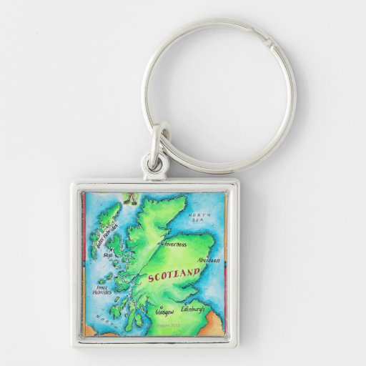 Map of Scotland Silver-Colored Square Keychain
