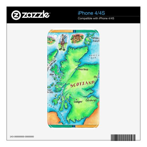 Map of Scotland Skin For iPhone 4