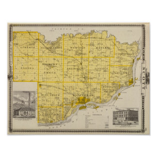 Map of Scott County, State of Iowa Poster