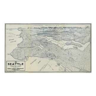 MAP of SEATTLE  1925 Poster