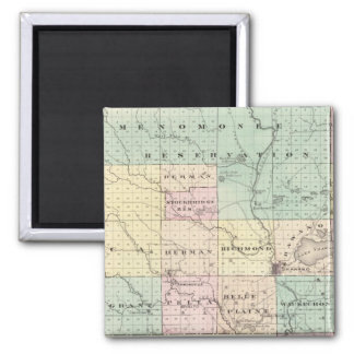 Map of Shawano County, State of Wisconsin 2 Inch Square Magnet