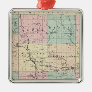 Map of Sheboygan County, State of Wisconsin Metal Ornament