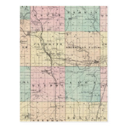 Map of Sheboygan County, State of Wisconsin Postcard