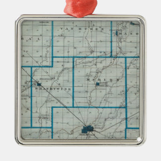 Map of Shelby County Square Metal Christmas Ornament