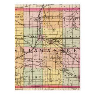 Map of Shiawassee County, Michigan Postcard