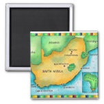 Map of South Africa 2 Inch Square Magnet