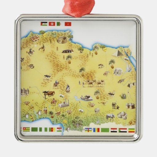 Map of South Africa 2 Square Metal Christmas Ornament
