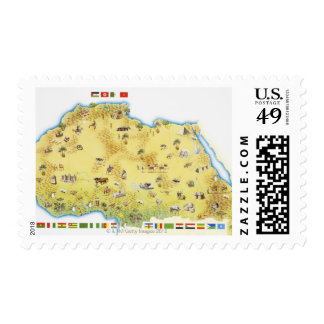 Map of South Africa 2 Postage Stamps
