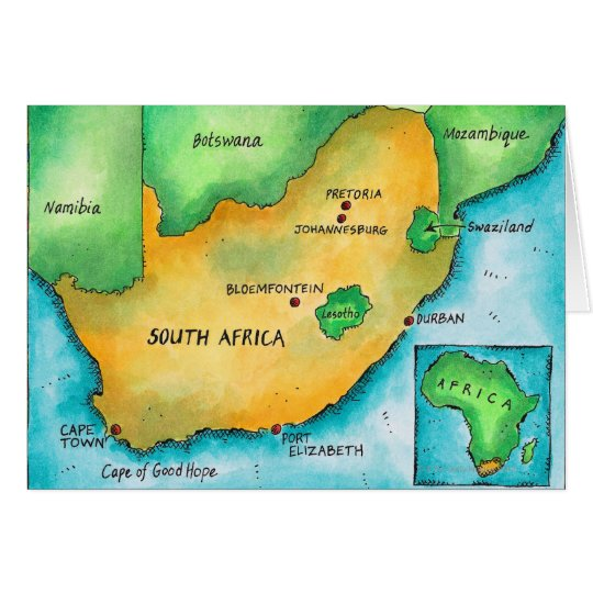 Map of South Africa Card
