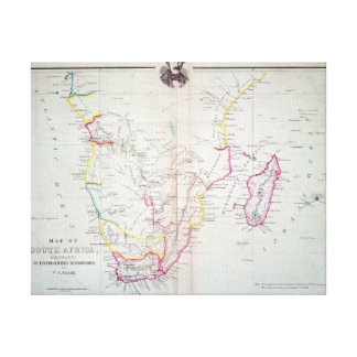 Map of South Africa illustrating Canvas Print