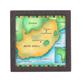 Map of South Africa Jewelry Box