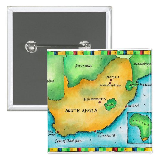 Map of South Africa Pinback Button