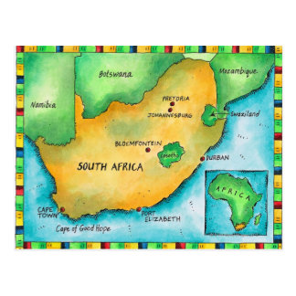 Map of South Africa Postcard