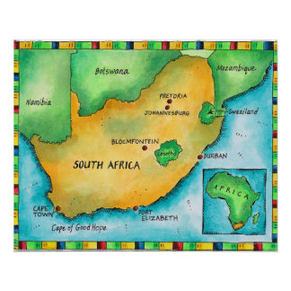 Map of South Africa Poster