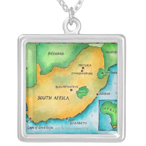 Map of South Africa Square Pendant Necklace