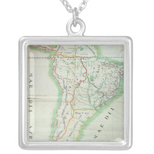 Map of South America, 1777 Square Pendant Necklace