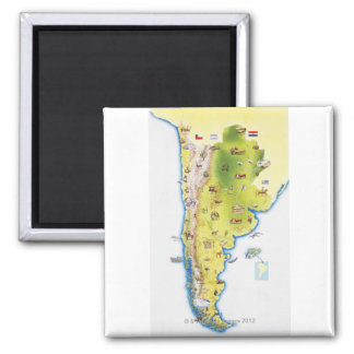 Map of South America 2 Inch Square Magnet