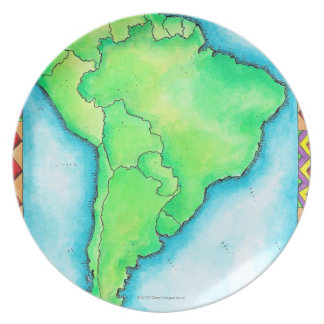 Map of South America 2 Dinner Plates