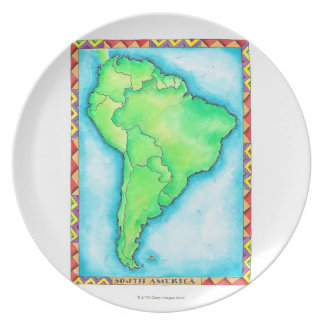 Map of South America 2 Party Plate