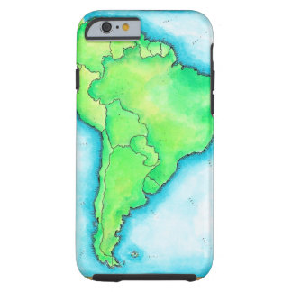 Map of South America 2 Tough iPhone 6 Case