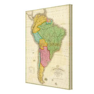 Map of South America 3 Canvas Print