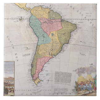 Map of South America 3 Large Square Tile