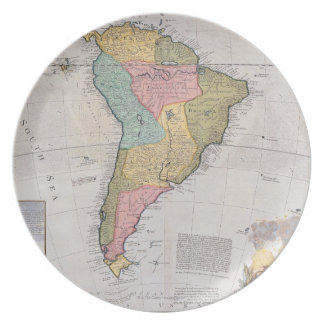 Map of South America 3 Dinner Plate