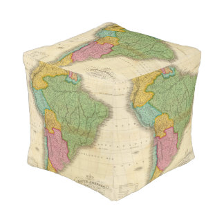 Map of South America 4 Cube Pouf