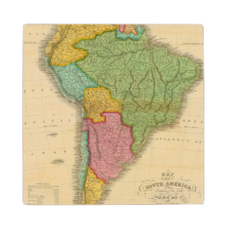 Map of South America 4 Maple Wood Coaster