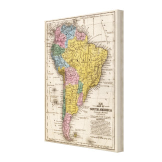 Map of South America 5 Stretched Canvas Print