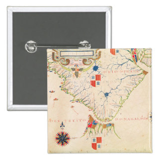 Map of South America and the Magellan Straits 2 Inch Square Button