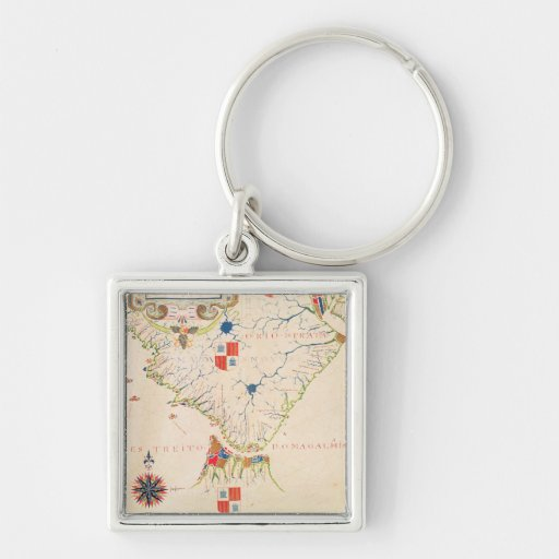 Map of South America and the Magellan Straits Keychain