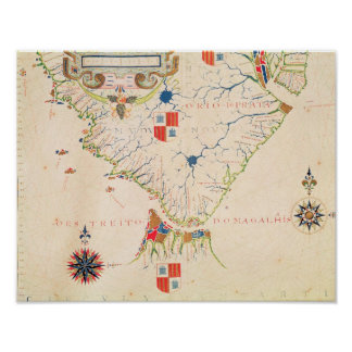 Map of South America and the Magellan Straits Poster