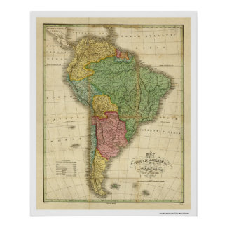 Map of South America by Finley 1826 Posters