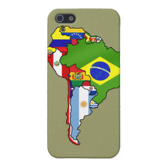 Map of South America Country flags case