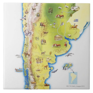 Map of South America Large Square Tile