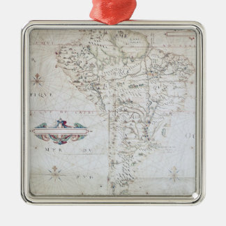 Map of South America Metal Ornament