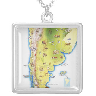 Map of South America Square Pendant Necklace