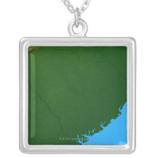Map of South Carolina 2 Silver Plated Necklace