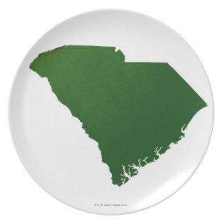 Map of South Carolina Dinner Plates