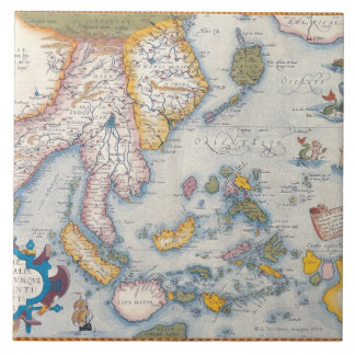 Map of South East Asia 2 Large Square Tile