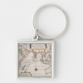 Map of South East Asia Silver-Colored Square Keychain