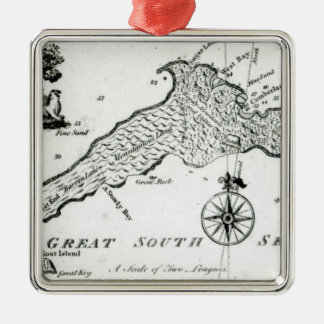 Map of South Pacific Island, 1800 Metal Ornament