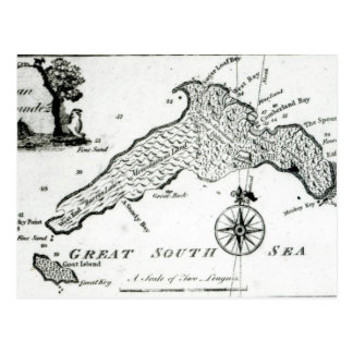 Map of South Pacific Island, 1800 Postcard